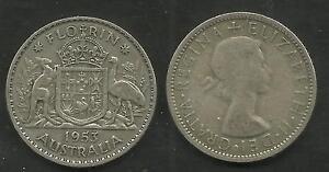 AUSTRALIA-1953-QUEEN-ELIZABETH-II-SILVER-FLORIN-Two-Shillings-2-COIN