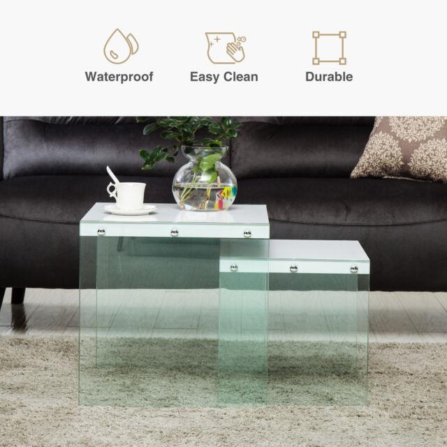 Modern White Set Of Two Tempered Gl Nesting Tables Living Room Furniture
