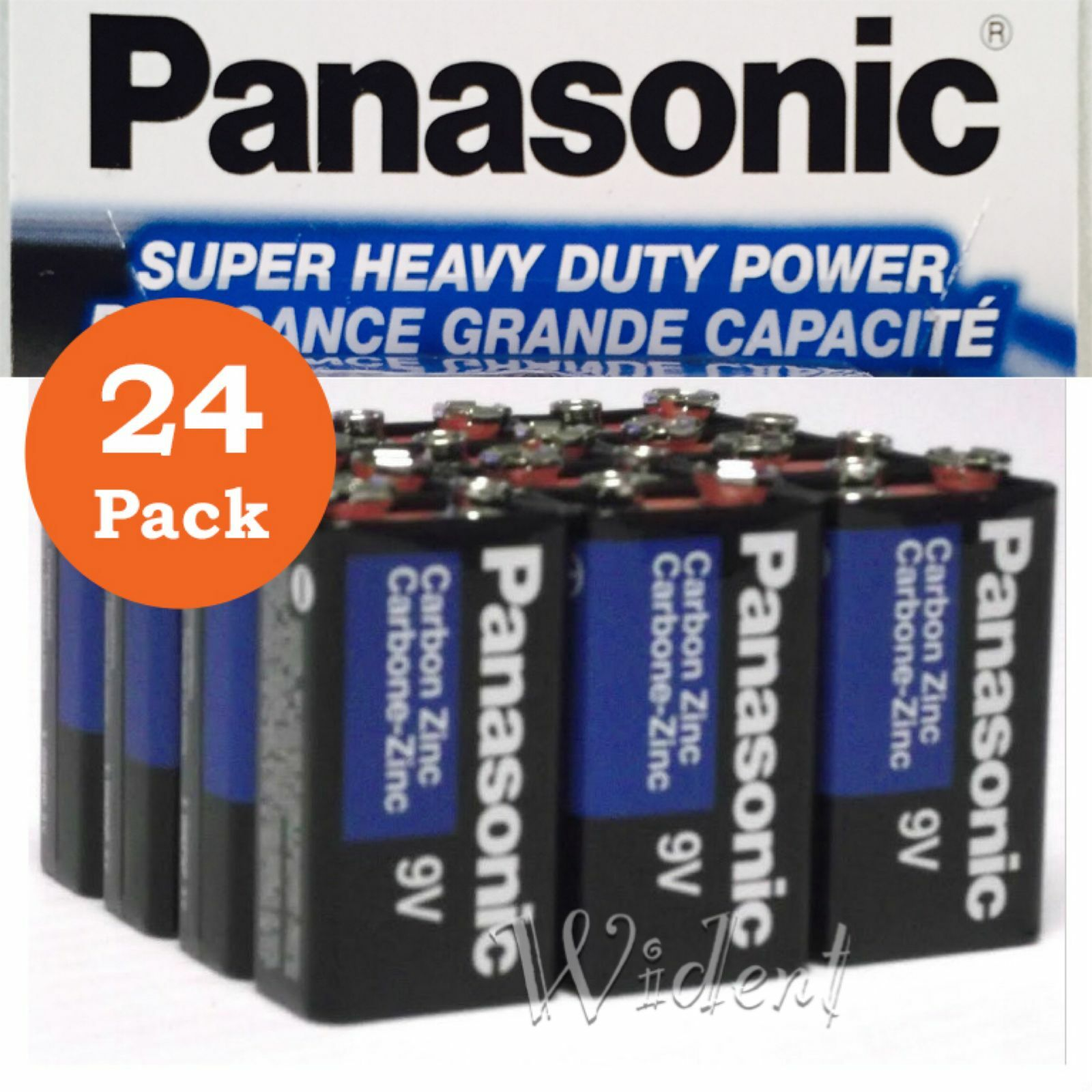 24Pk Panasonic Battery Batteries 9V Super Heavy Duty Power Zinc Carbon