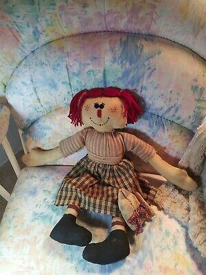 "New Primitive Country Folk Art MADDY WITH PIG DOLL Raggedy Ann Doll 20/"""