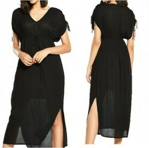 River-Island-Ruched-Sleeve-Boho-Maxi-Dress-in-Black-UK-10-US-6-EUR-36-rst108