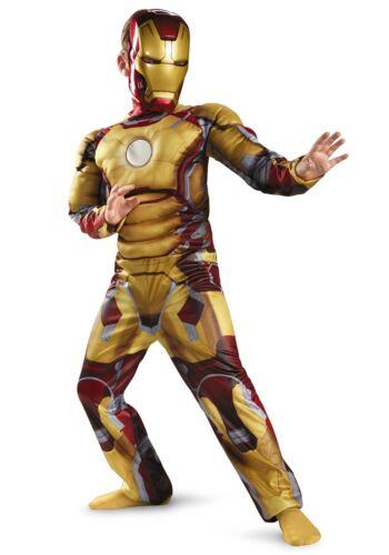 DELUXE IronMan 3 Mark 42 MUSCLED Child  Halloween Costume S 4-6 MED 7-8 iron man