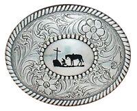 Western Silver Trophy Buckle Cowboy Prayer Horse, Cross 37056