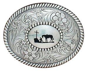 Western-Silver-Trophy-Buckle-COWBOY-PRAYER-Horse-Kneel-Cross-37056