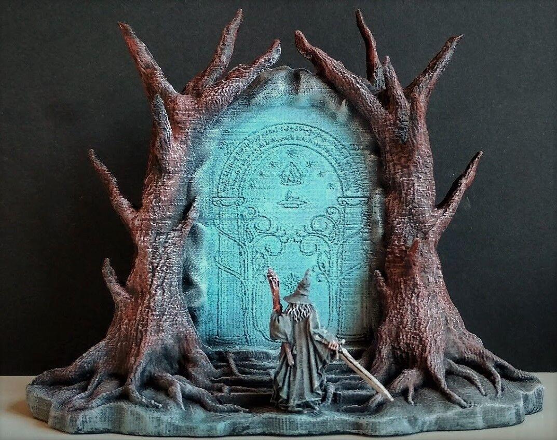LOTR. Diorama  Gandalf  aux portes de Durin. terrain. Paysage  livraison et retours gratuits