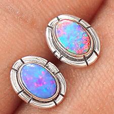 Genuine Australian Fire Opal Studs 925 Sterling Silver Earrings Jewellery