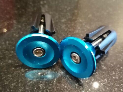 1Pair BLUE Road MTB Bicycle Aluminum Handlebar Grips Handle Bar Cap End Plugs
