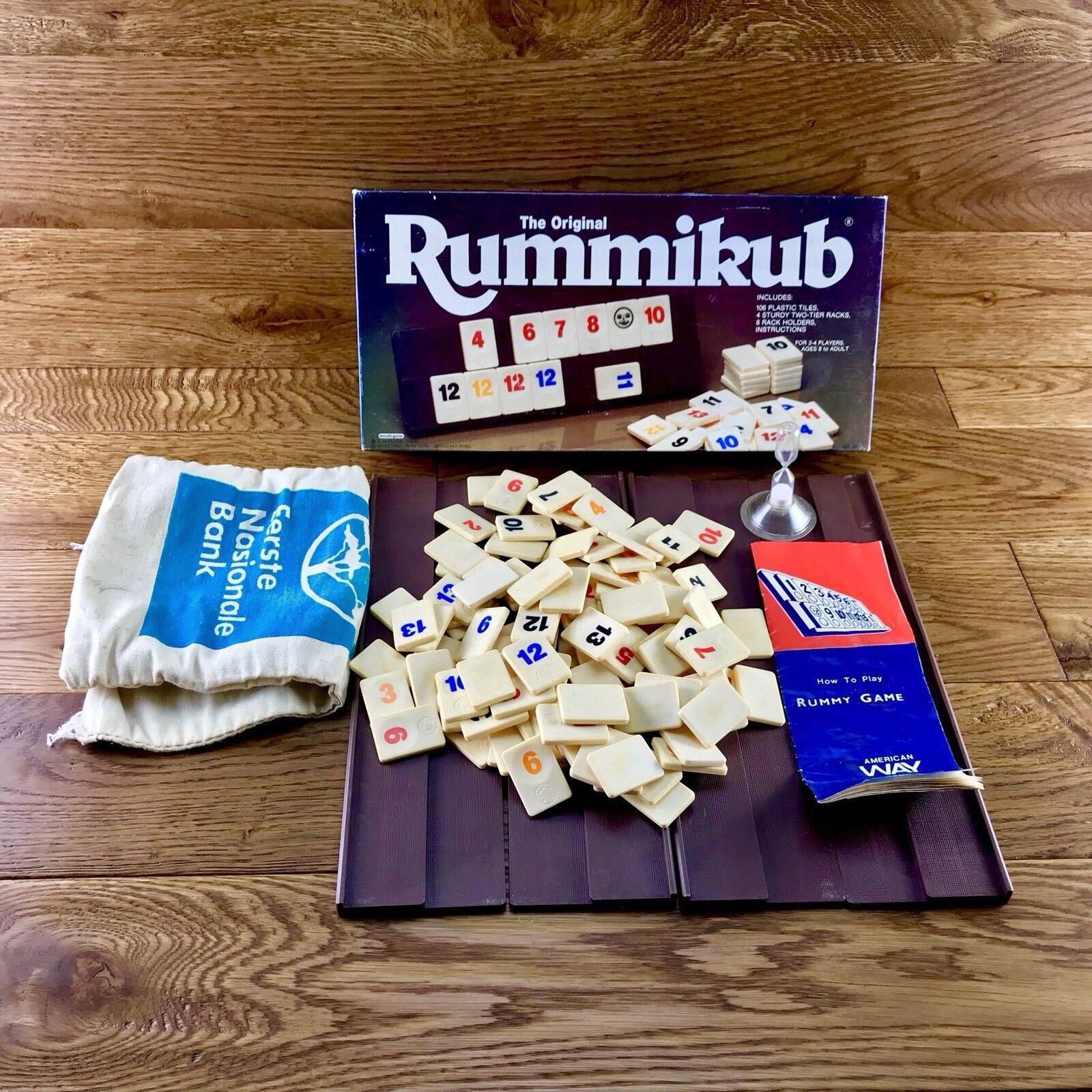 Sehr seltene vintage echte original rummikub braun box lemada spiele fliesen