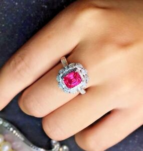 3-9Ct-Cushion-Red-Ruby-Diamond-Halo-Engagement-Ring-14K-White-Gold-Over