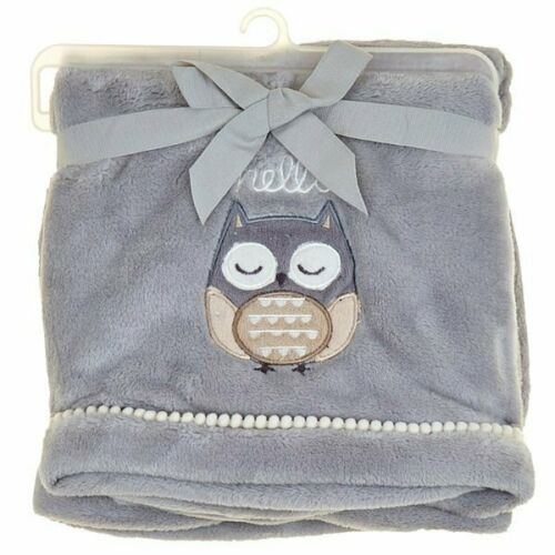 NWT Just Born Kohls Hello Grey White Cream Tan Sleeping Owl Plush Baby Blanket