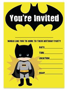 Image Is Loading BATMAN THEME BIRTHDAY PARTY INVITATIONS SUPERHERO INVITES CHILDREN