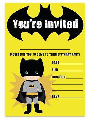BATMAN THEME BIRTHDAY PARTY INVITATIONS SUPERHERO INVITES CHILDREN BOYS KIDS