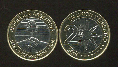BI-MEATLLIC COIN UNC ARGENTINA 2 PESO 200th INDEPENDENCE 2016 COMM