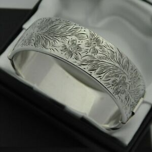 1960-Vintage-Wide-amp-Heavy-925-Silver-1-2-Engraved-Floral-Design-Bangle-Bracelet