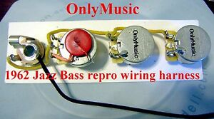 compatible with 1962 fender jazz bass repro vintage wiring harness rh ebay com bass guitar wiring harness pj bass wiring harness