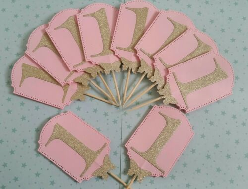 10x First Birthday Cupcake Topper Table Decoration Pink /& Gold Birthday Girl ONE