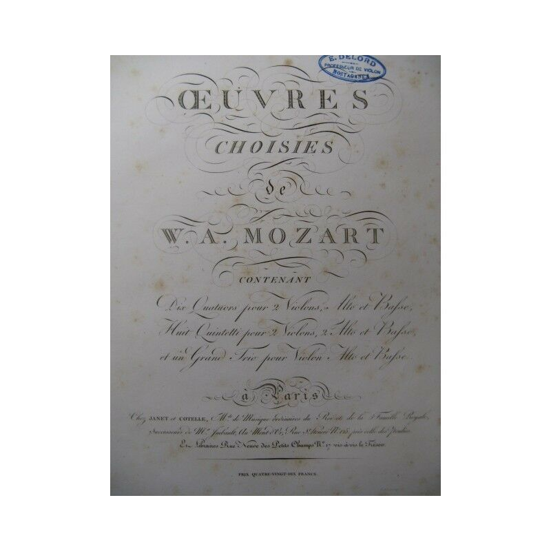 MOZART W. A. Grand Trio Violon Alto Violoncelle ca1810 partition sheet music sco