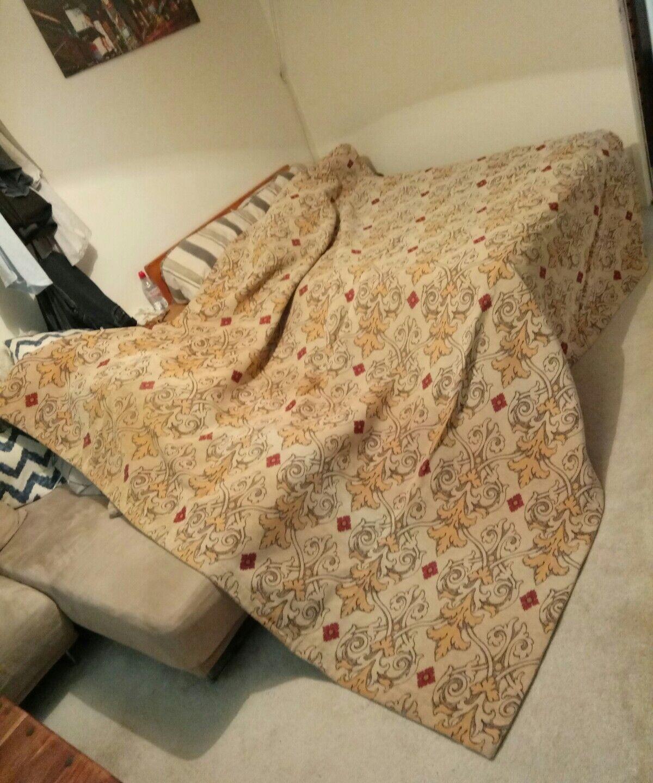 Beautiful Vintage Very Large Heavy Woven Beige Bed Throw Rug Reversible