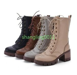 Womens-Ladies-Stylish-Block-heels-Lace-up-military-Combat-Mid-Calf-Boots-shoes