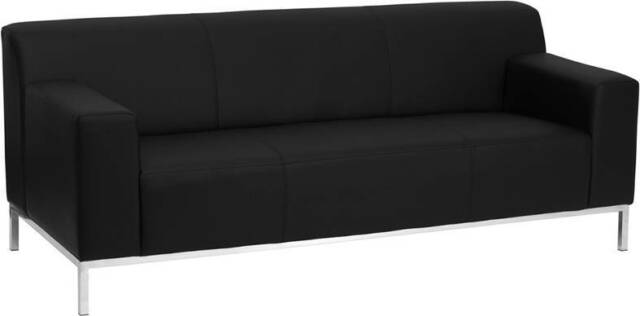 CONTEMPORARY BLACK LEATHER SOFA W. STAINLESS STEEL FRAME