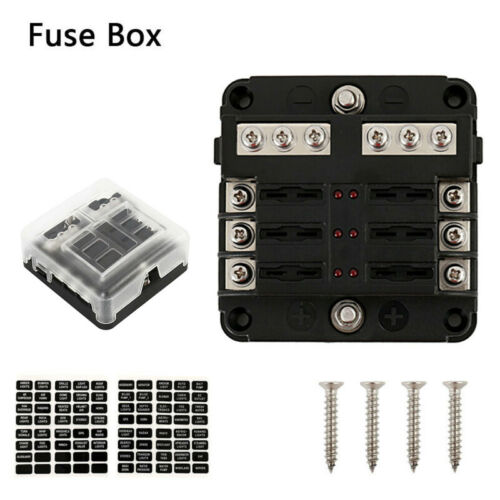 6 Way Fuse Box Circuit Standard Auto Blade Block Holder For Car Boat DC 12V-24V
