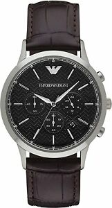 794fe37ceb90 Emporio Armani Classic AR2482 Black Dial Dark Brown Leather Quartz ...