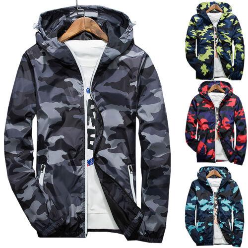 Men Waterproof Windbreaker Camo Hoodie Zip Jacket Hooded Sweatshirt Coat Outwear