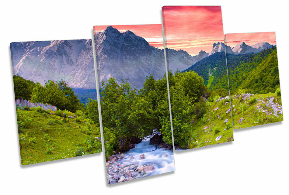 Sunset Landscape Mountains MULTI CANVAS WALL ART Framed Panel