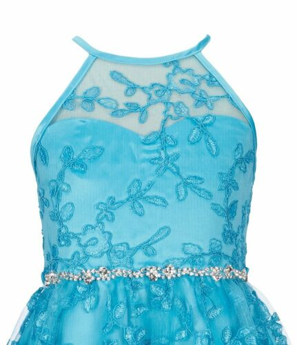 RARE EDITIONS® Girl/'s 10 14 Turquoise Lace Embroidered Dress NWT $82