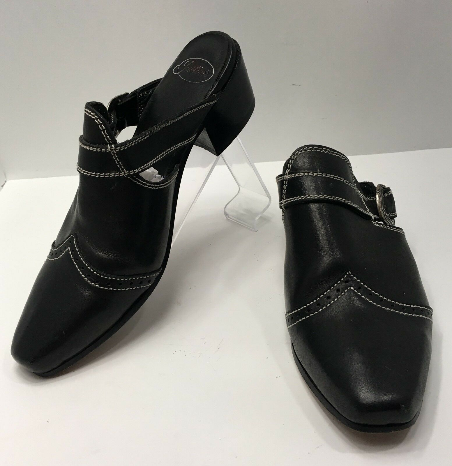 Justins Western 8 M Mules Womens shoes Black Leather Slip On Square Toe Buckle