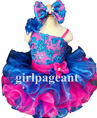 Infant//toddler//baby  Sequins Lace Pageant  Dress blue pink 135