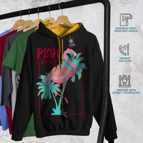 Felpa New con Black Flamingo per cappuccio Island oro cappuccio uomo Pink 4Zpq4xnr