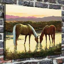 Horses at the watering Paintings HD Print on Canvas Home Decor Wall Art Pictures