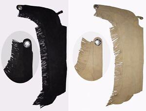 Western-Chaps-mit-Fransen-aus-Leder-Gr-XS-XL-schwarz-braun-oder-beige