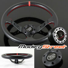 96-00 HONDA CIVIC 350mm JDM RED STITCH DEEP DISH STEERING WHEEL/HUB BOSS KIT