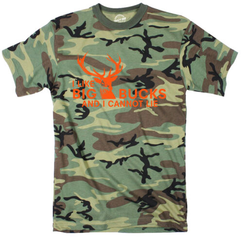 Mens I Like Big Bucks and I Cannot Lie T shirt Funny Deer Hunting Hunter Gift