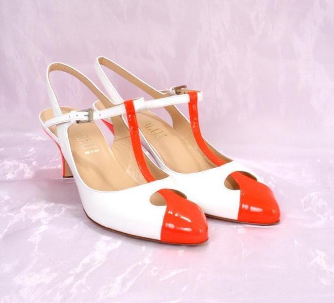LORIBLU 3120c White / Orange Patent Pelle Slingback T-Strap Sandals 37 /   7
