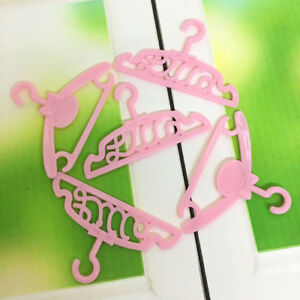 10Pcs-pink-plastic-clothes-dress-hanger-holders-accessory-for-doll-wardrobeJ-a-s
