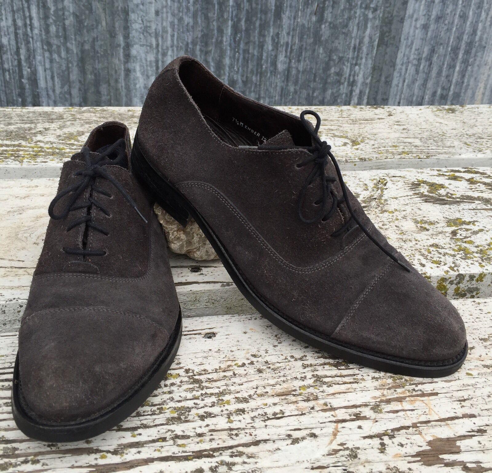 $269 Donald J Pliner Ember Cap Shoe Toe Suede Oxford Dress Shoe Cap Mens 7.5 M Italy Made 6b5a61