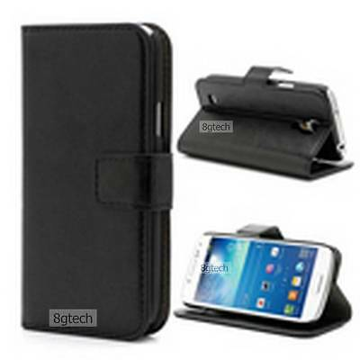 Black Protective Luxury Leather Wallet Case For Samsung Galaxy S4 Mini i9190