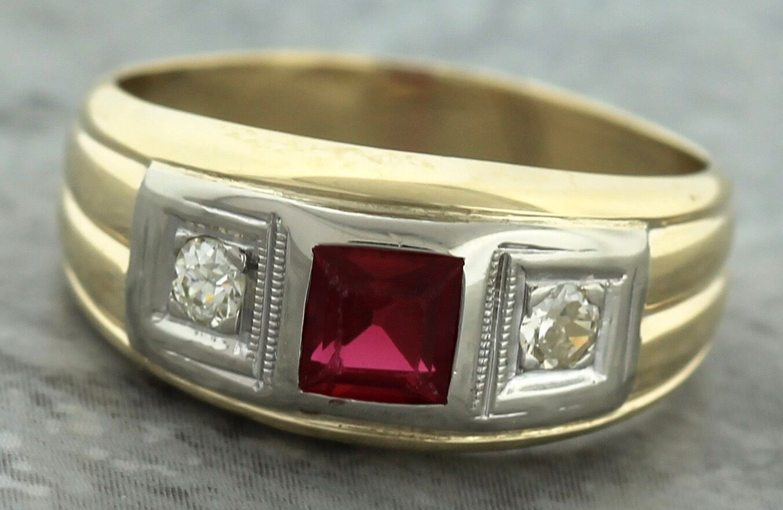 766a804879930 Deco Art Modern Style Square Ring Ruby Diamond gold Yellow 585 14K ...