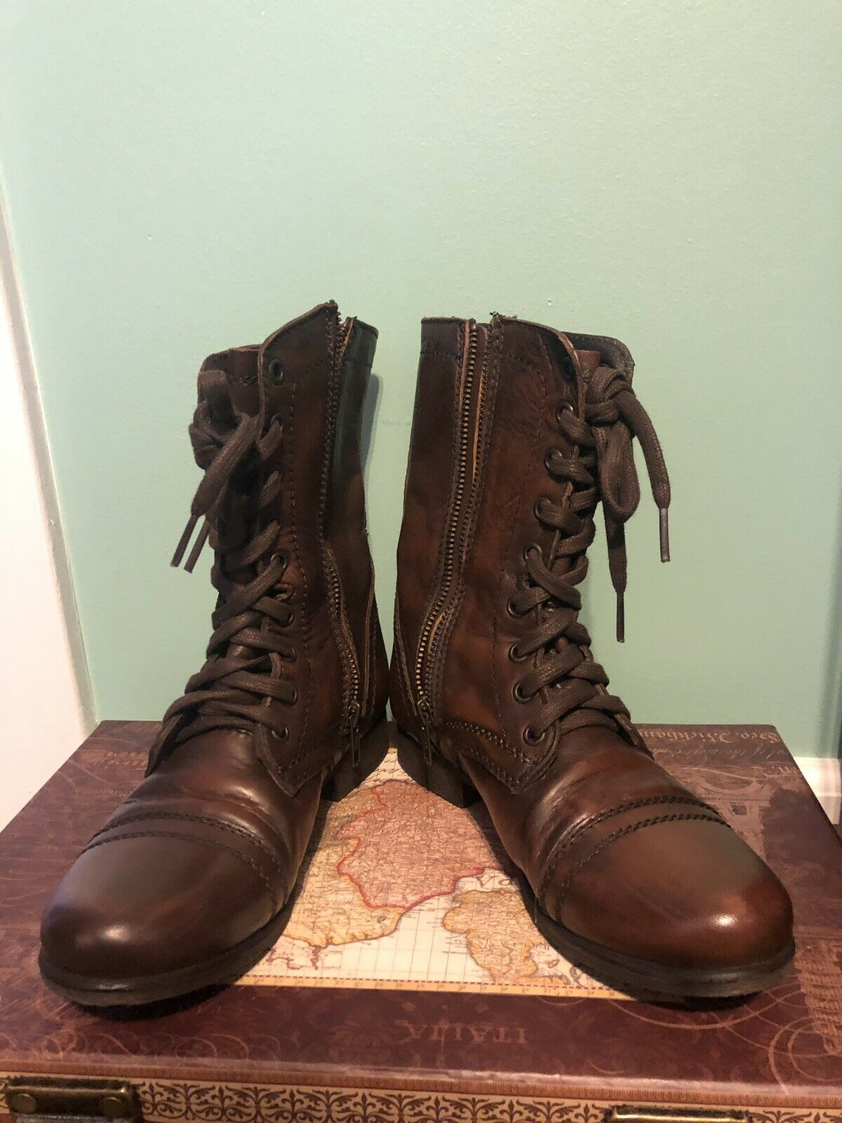 Steve Madden Distressed Brown Leather Zip Lace Combat Boots Size 6.5 M - TROOPA