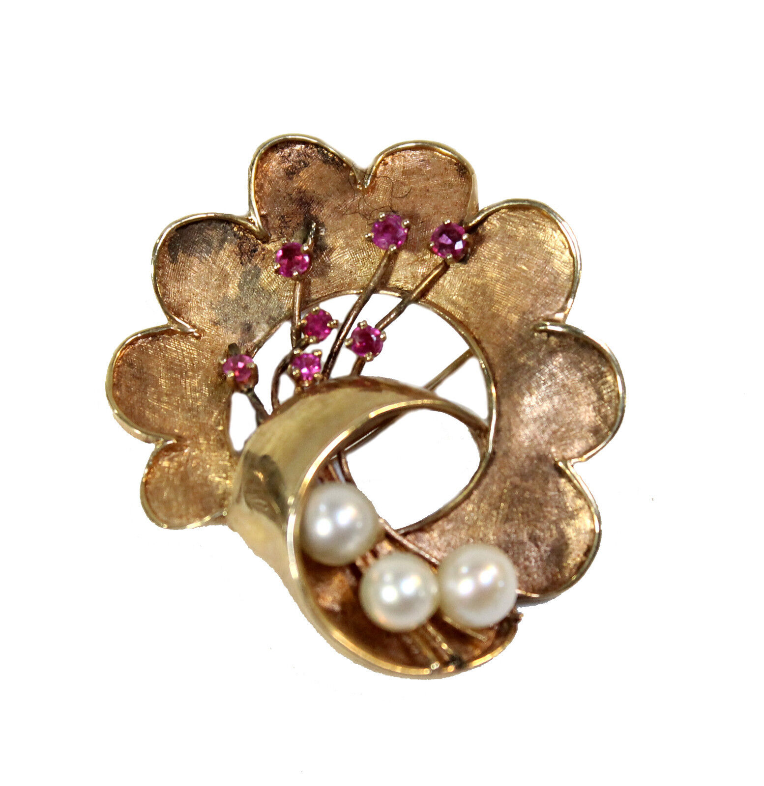 Vintage 14kt Yellow gold Flower Wreath Brooch Cultured Pearls Faceted Rubies Pin