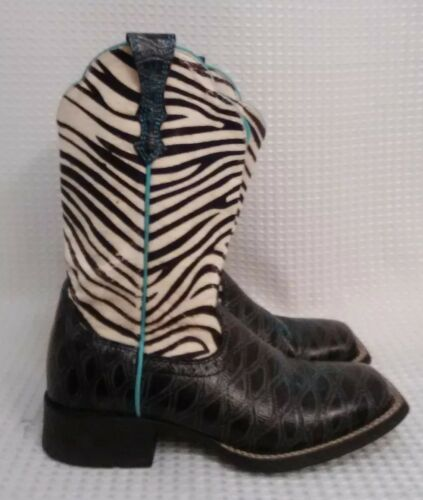 Ariat ATS Ladies Fatbaby Black Turquoise  Zebra S… - image 1