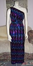 Vintage 70s Lilli Diamond One Shoulder Hollywood Glam Sequined Dress LN XS/S