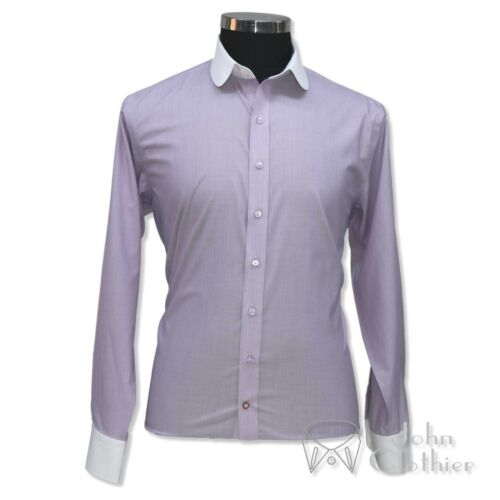 Dandy Fines Rond Blanc Coton Violet Hommes Col Chemise Rayures Club 7d1xv7p