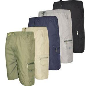 Mens-Summer-Elasticated-Plain-Shorts-Cotton-Lightweight-Cargo-Combat-Pants-M-3XL