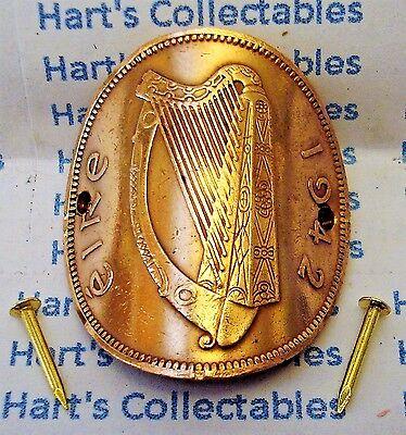 IRLANDE Walking Stick badge Harpe Irlandaise Hauteur 2.5 cm cuivre EIRE.