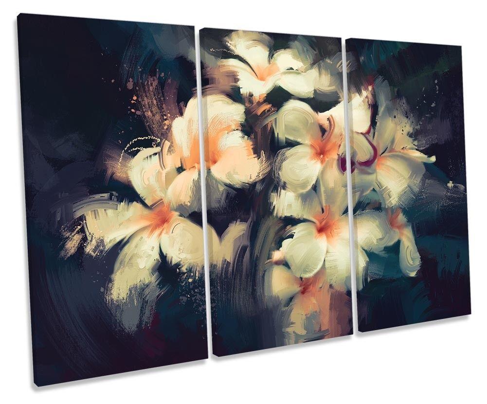 Weiß Floral Flowers Paint Repro TREBLE CANVAS WALL ARTWORK Print Art