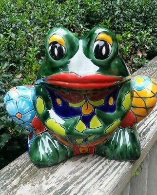 Talavera Large Green Frog Planter Pot Mexican Pottery